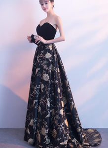 Black Sweetheart Velvet and Satin Floral Party Gown, Black Prom Dress Evening Dress