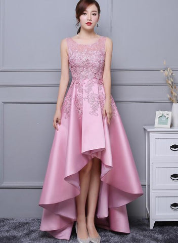 Beautiful Pink High Low Satin and Lace Homecoming Dress, Cute Short Prom Dress