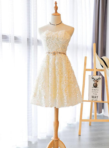 Lovely Light Champagne Lace Sweetheart Party Dress, Cute New Homecoming Dresses