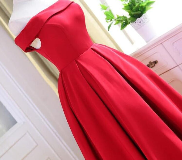Beautiful Red Satin Tea Length Off Shoulder Party Dress, Red Homecoming Dress