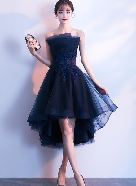 Fashionable Navy Blue High Low Homecoming Dress, Short Prom Dresses