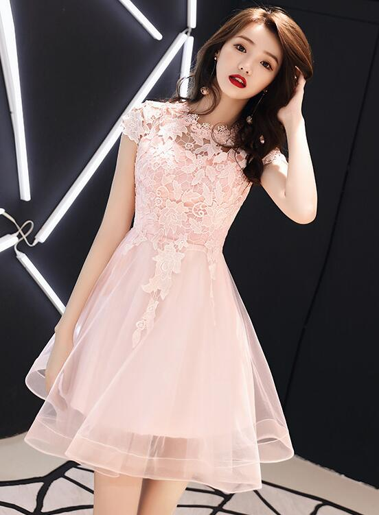 Lovely Pink Lace Cap Sleeves Short Tulle Homecoming Dress, Pink Prom Dress
