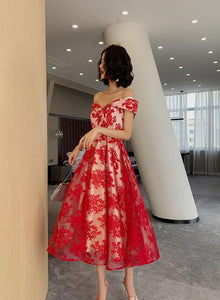 Red Lace Off Shoulder Tea Length Bridesmaid Dress, Lace Party Dress Prom Dress