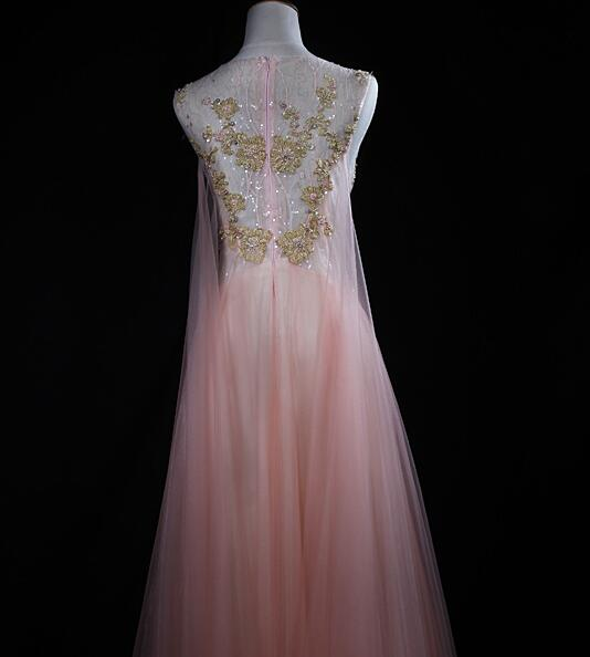 Charming Soft Pink Tulle Long Party Dress with Gold Lace Applique, Pink Evening Dress