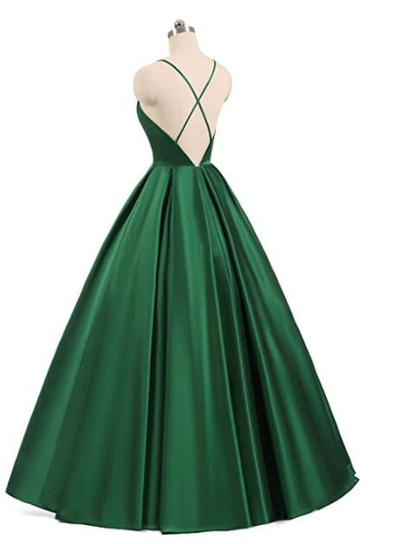 Charming Satin Cross Back Deep V-neckline Long Party Dress, Floor Length Evening Dress