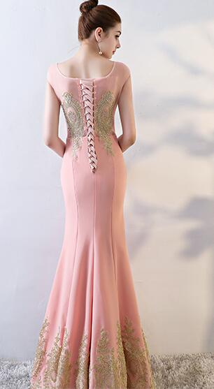 Pink Mermaid Cap Sleeves Long Party Dress, Pink Mermaid Evening Dress Formal Dress