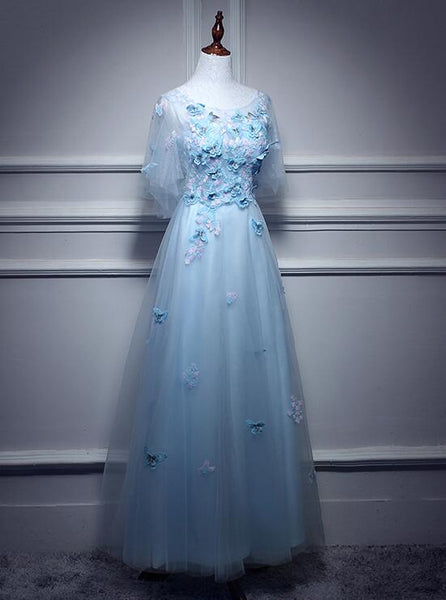 Light Blue Flowers Long Party Dress, A-line Tulle Party Dress Evening Dress