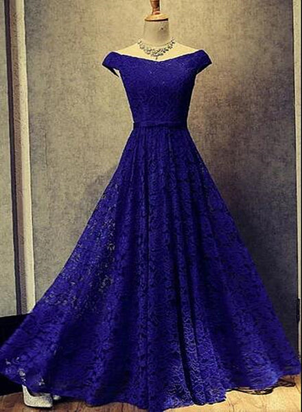 royal blue lace long party dress