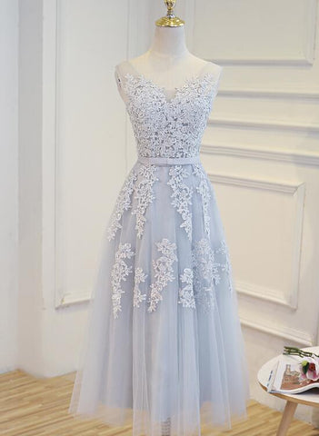 light grey tulle party dress