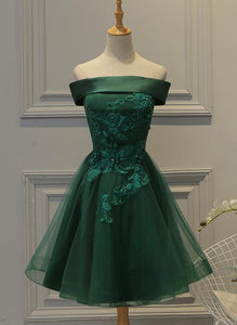 Cute Dark Green Off Shoulder Short Party Dress, Tulle Homecoming Dress