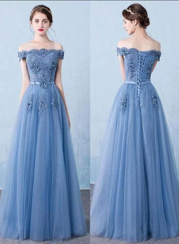 Off Shoulder Blue Tulle Long Party Dress, Blue Prom Dress 2020