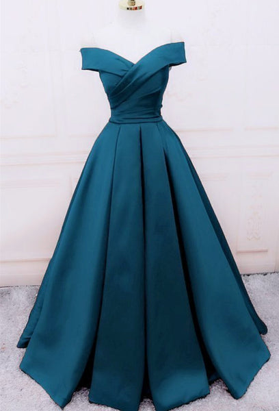 Glam Blue Satin Long Off Shoulder Party Dress, A-line Prom Dress 2020