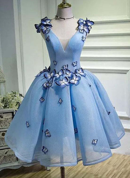 blue short party dress