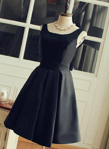 Cute Short Black Satin Knee Length Homecoming Dress, Black Party Dress