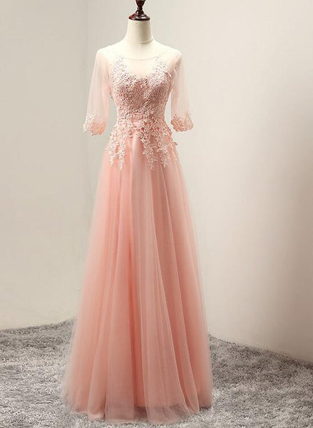 Pink Tulle Elegant Party Dress with Lace Applique, Long Evening Gown