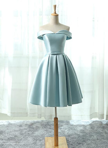 light blue satin short prom dress