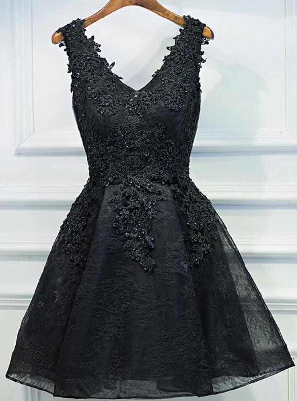 Lace V-neckline Short Black Lace Prom Dresses, Black Homecoming Dresses