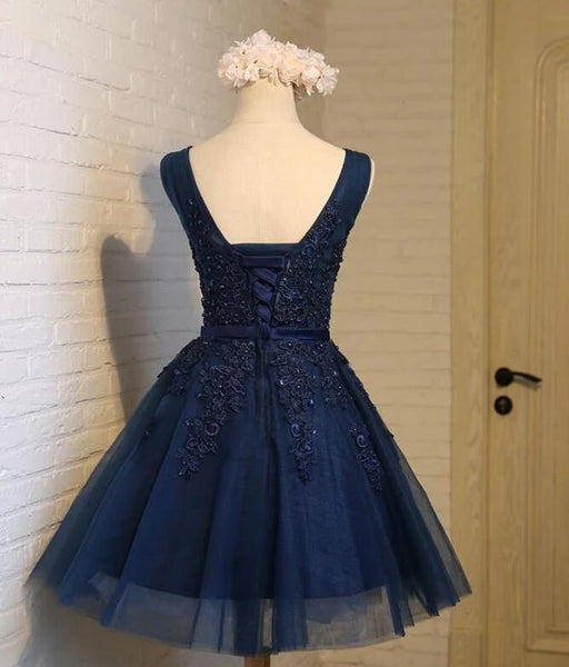 Beautiful Navy Blue Knee Length Homecoming Dresses, V-neckline Short Formal Dresses