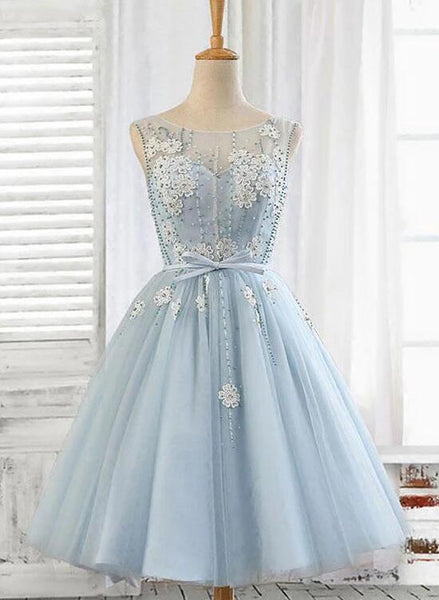 blue tulle homecoming dress