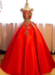 Beautiful Red Satin with Embroidery Long Sweet 16 Gown, Red Party Dress 2020