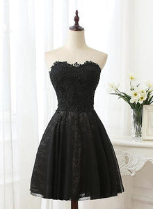 Black Sweetheart Lace and Beaded Homecoming Dress, Black Short Party Dress