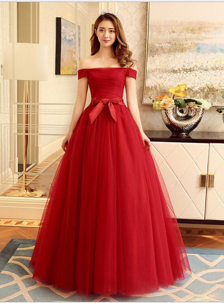 Gorgeous Red Ball Gown Tulle Formal Gown, Off Shoulder Long Prom Dress