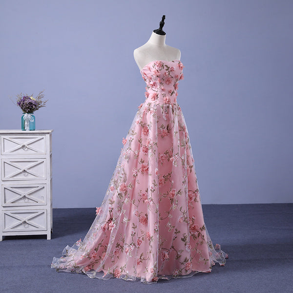 Pink Long Sweetheart Flowers Evening Dress, Pink Party Dress Prom Dress