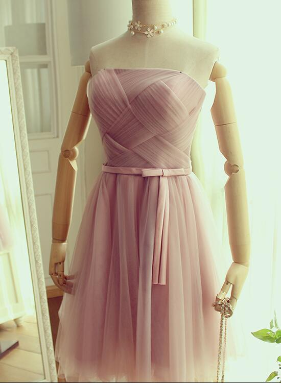 cute pink short prom dress