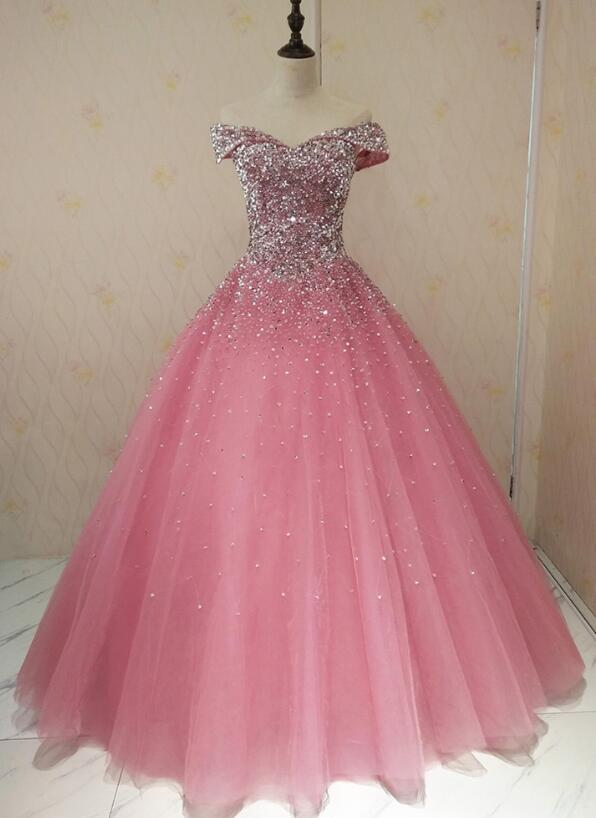 pink tulle sweet 16 gown