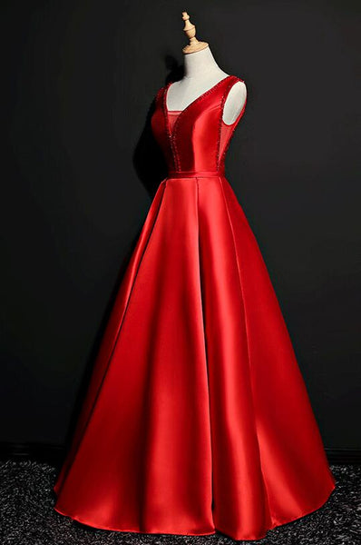 Beautiful Red Satin Long A-line Prom Dress, New Party Gown 2020