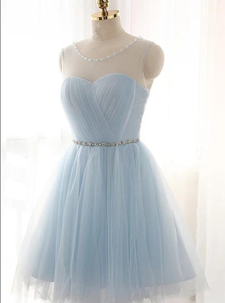 Lovely Light Blue Tulle Short Prom Dresses Homecoming Dresses, Party Dress