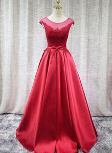 Red Satin Long Prom Dresses 2019, Handmade Formal Gown, Backless Charming Formal Gowns