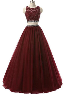 Beautiful Two Piece Tulle Beaded Party Dress