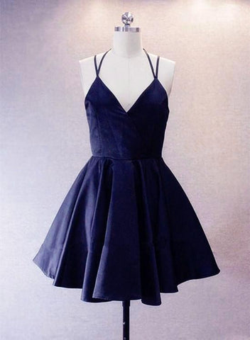 Navy Blue Short Straps Satin Homecoming Dresses, Lovely Simple Prom Dress