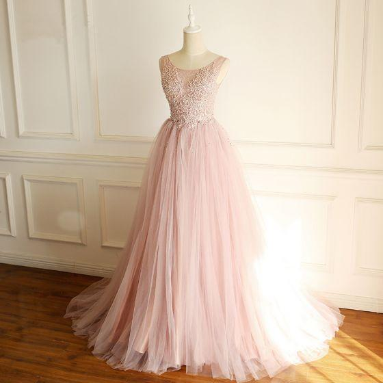 Pink Gorgeous Tulle Beaded and Lace Applique Party Dress, Long Formal Gown