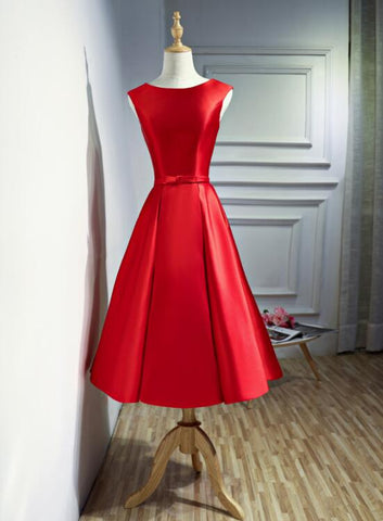 Red Satin Tea Length Round Neckline Party Dress, Short Red Wedding Party Dress