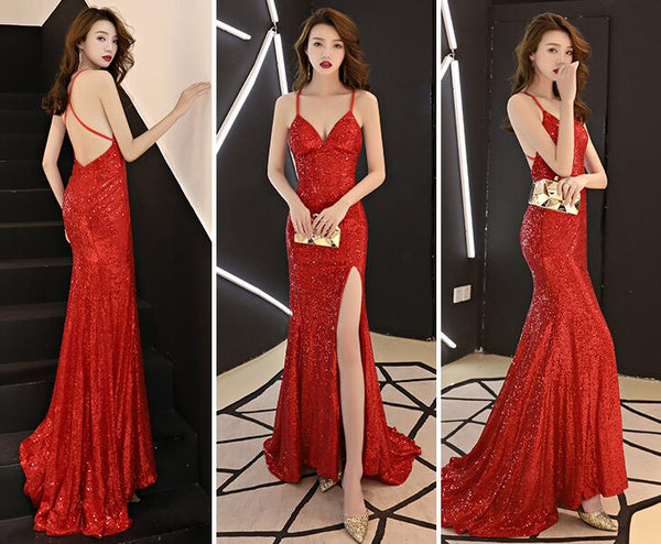 Sexy Sequins Long Slit Cross Back Junior Prom Dress, A-line Party Dress Formal Dress