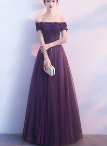Lovely Off Shoulder Dark Purple Long Party Dress, A-line Prom Dress 2020