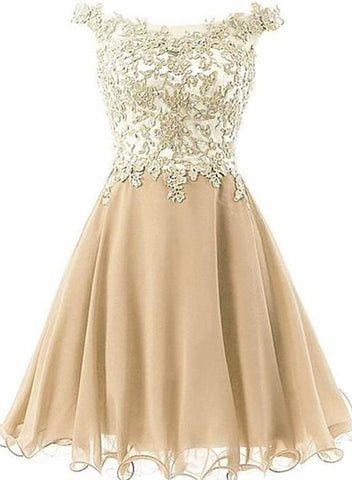 Lovely Champagne Lace and Chiffon Short Prom Dress 2020, Cute Party Dress