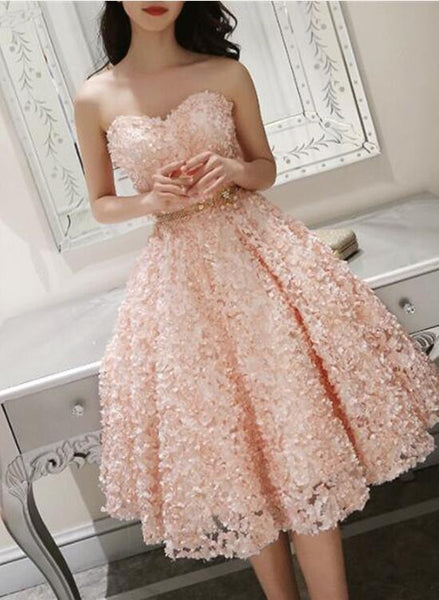 Lovely Pink Floral Lace Short Sweetheart Romantic Homecoming Dress, Short Prom Dress