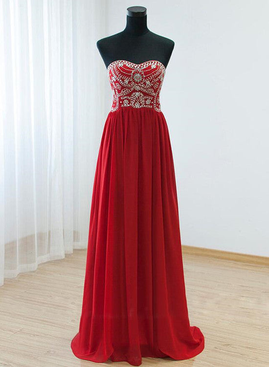 red chiffon prom dress