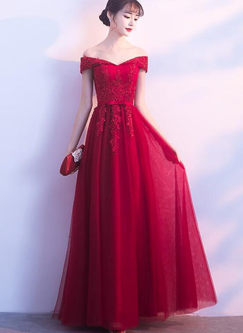 wine red off shoulder party dress 2020