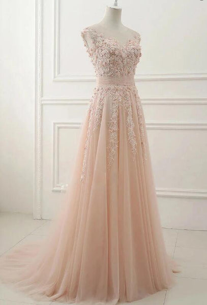 Elegant Pink Floral Lace Applique Tulle Long Party Dress, Pink Prom Dress 2020
