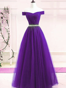 Lovely Purple Off Shoulder Beaded Long Prom Dress, Purple Formal Dress Evening Gowns