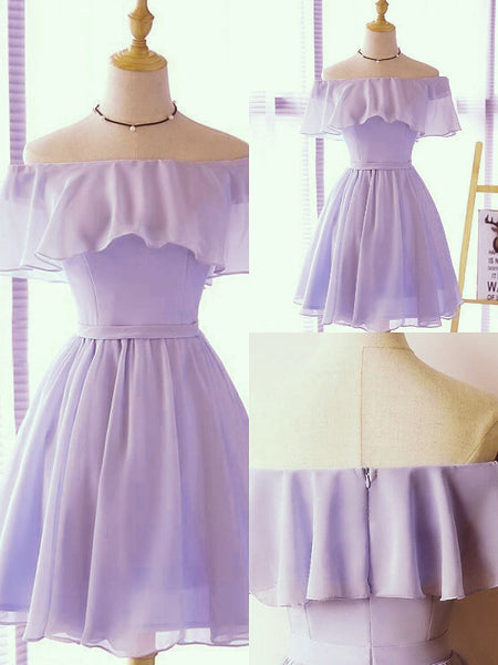 Lovely Short Chiffon Light Purple Party Dress, Off the Shoulder Prom Dress