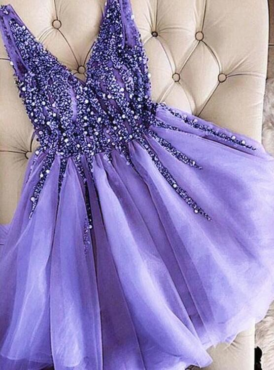 Lovely Purple Short Tulle Party Dress 2020, Homecoming Dress 2020