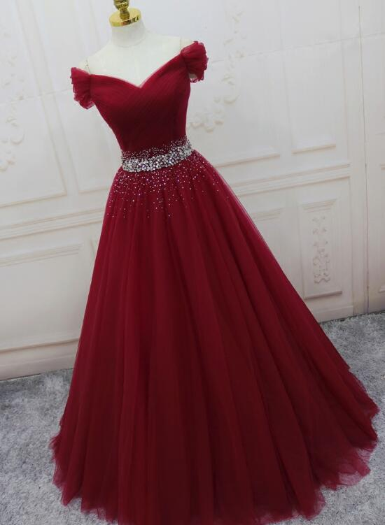 Beautiful Burgundy Long Tulle Off Shoulder Prom Dress , Junior Prom Dresses