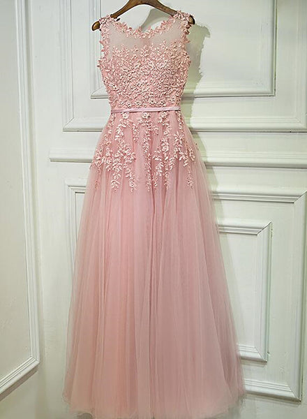 Cute Pink Floor Length Round Neckline Prom Dress, Pink Formal Gown 2020