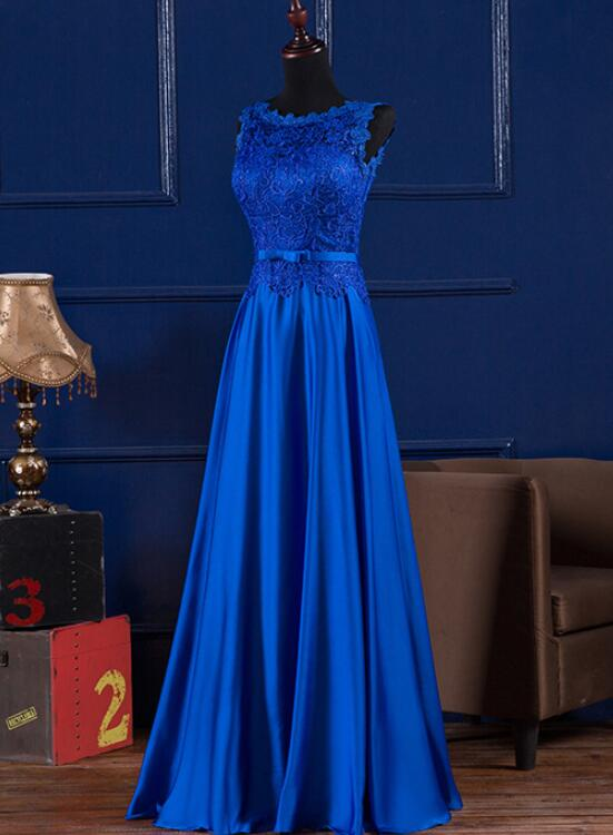 royal blue satin party dress 2020