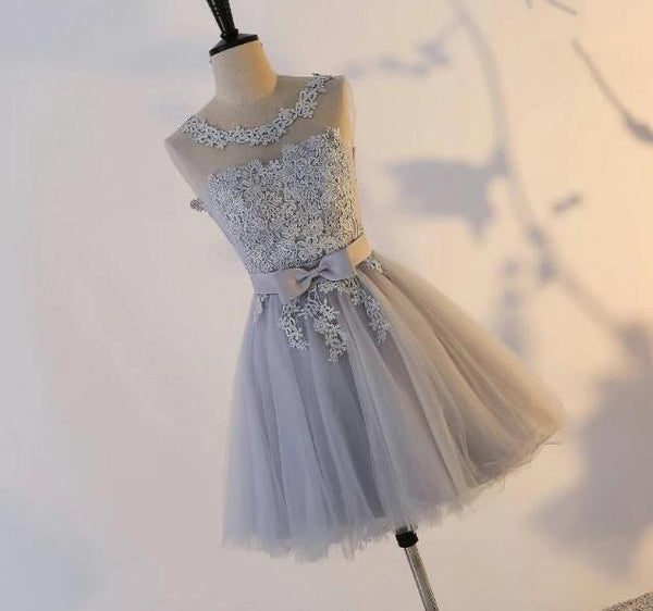 Lovely Grey Lace Top Short Homecoming Dress, Lovely Party Dress 2020